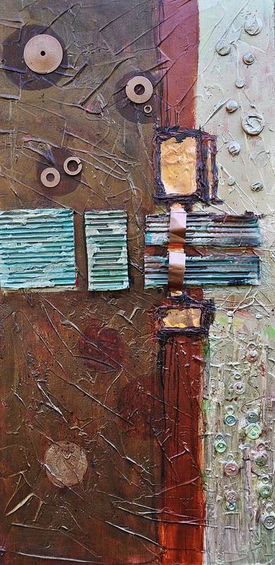 Metal Abstract Art Print featuring the painting Machine Shop 2 by Ginger Concepcion