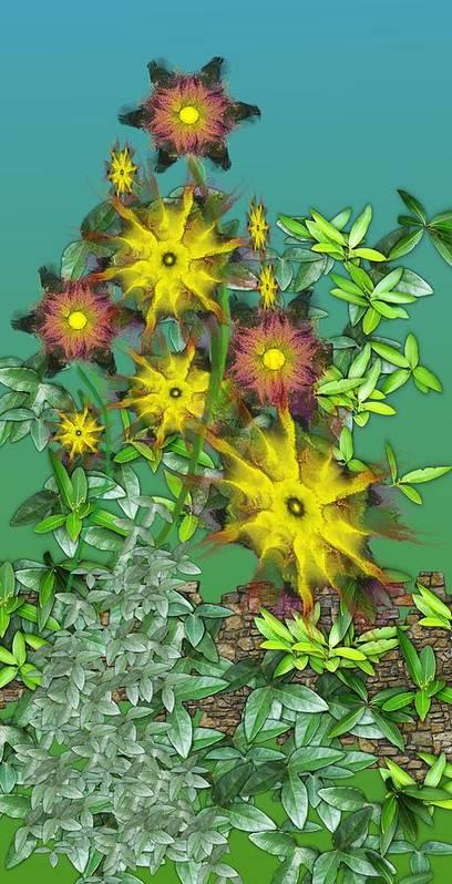 Flowers Art Print featuring the digital art Mixed Flowers by David Lane