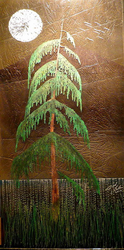 Moonlight Art Print featuring the painting Moonlit Cedar by Rick Silas