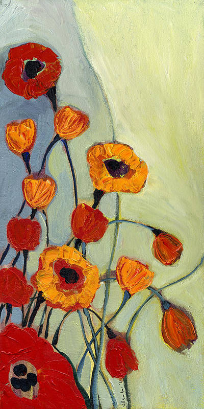 Poppy Art Print featuring the painting Poppies by Jennifer Lommers
