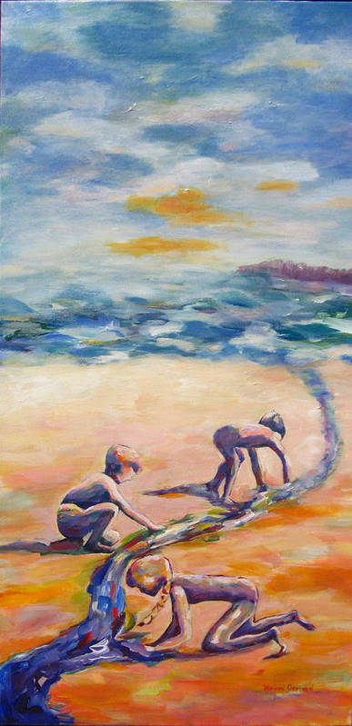 Our Kids Playing On The Beach Creating A River That They Feel Very Protective Of.  Art Print featuring the painting Protecting Our River by Naomi Gerrard