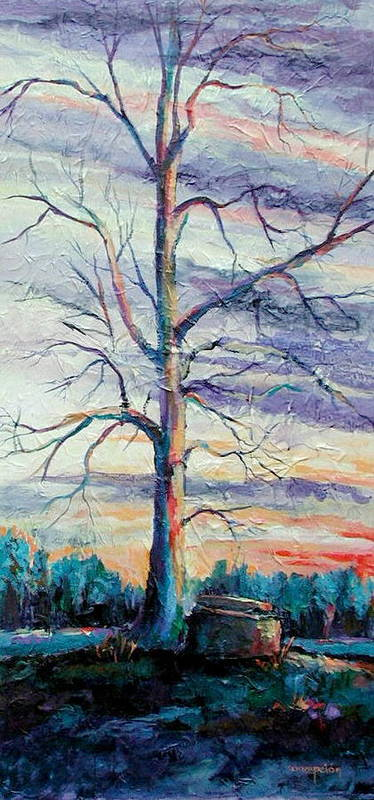 Lone Tree Art Print featuring the painting The Sentinel by Ginger Concepcion
