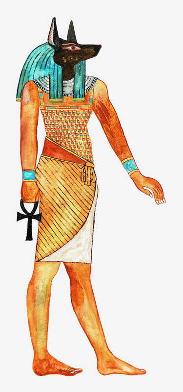 Watercolor Painting Art Print featuring the digital art Illustration Of Ancient Egyptian God Of by Dorling Kindersley