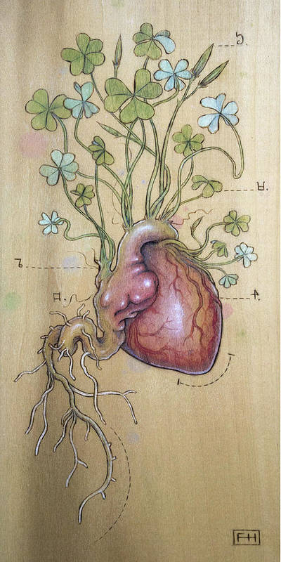 Clover Art Print featuring the pyrography Clover Heart by Fay Helfer