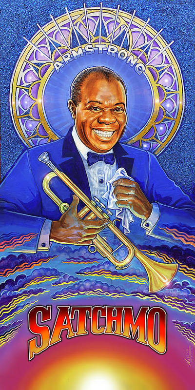 Satchmo Art Print featuring the mixed media A Portrait of Satchmo by Tim Neil
