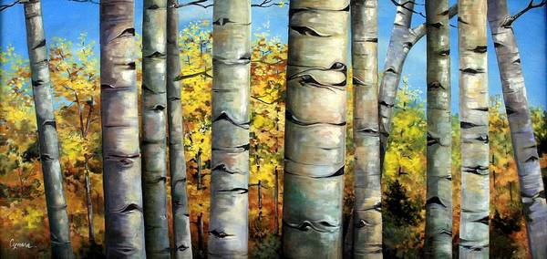 Aspens Art Print featuring the painting Aspen Eyes by Cynara Shelton