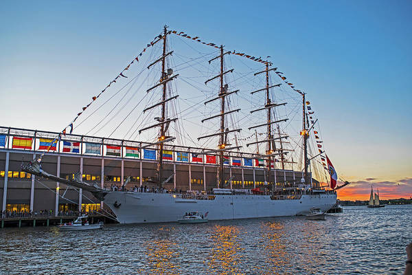 Boston Tall Ship Seaport Waterfront at Sunset Boston MA by Toby McGuire