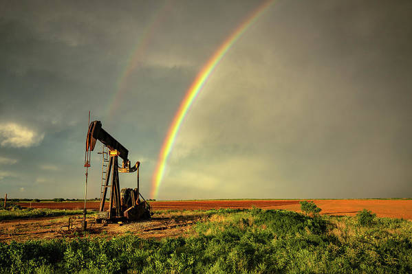Black Gold - Rainbow Ends at Pump Jack on Texas Plains by Southern Plains Photography