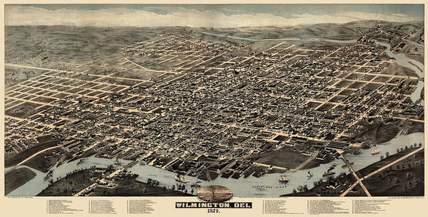 Antique Map of Wilmington Delaware by H. H. Bailey and Co. - 1874 by Blue Monocle