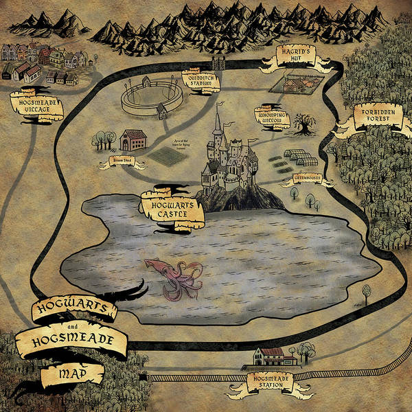 Hogwarts and Hogsmeade Village map by Quill and Pearl Co