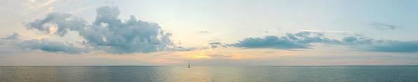 Sailboat Art Print featuring the photograph Into the Sunset Lake Michigan Panorama by M Urbanski
