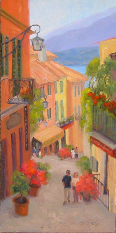 Bellagio Art Print featuring the painting Saturday Stroll - Bellagio by Bunny Oliver