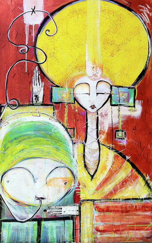 Red Art Print featuring the painting The Heat Radiates Finding A New Home In The Desert Of The Universe by Mark M Mellon