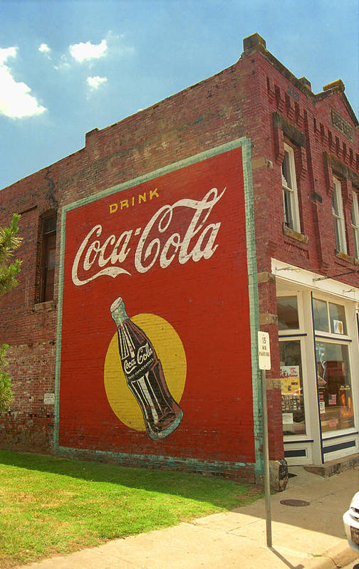 Route 66 coca cola ghost mural art print by frank romeo for Coca cola wall mural