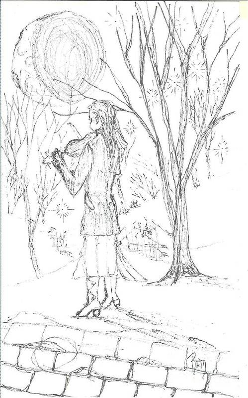 Pen And Ink Art Print featuring the drawing A Song For The Night - Sketch by Robert Meszaros
