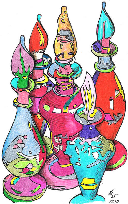 Bottles Art Print featuring the drawing Bottle2010 by Loretta Nash