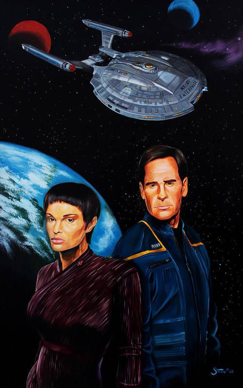 Star Trek Enterprise Art Print featuring the painting Captain Archer And T Pol by Robert Steen