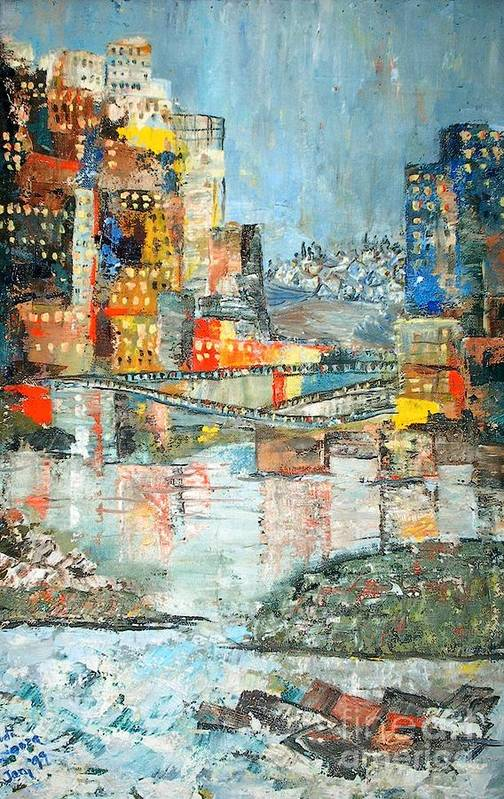 Cityscape Art Print featuring the painting City By The River - Sold by Judith Espinoza