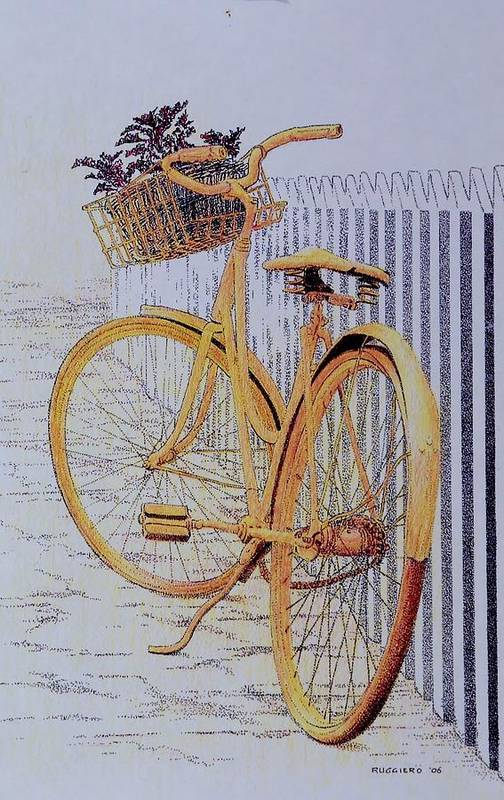 Bicycle Yellow Summer Flowers Plants Art Print featuring the painting Endless Summer by Tony Ruggiero