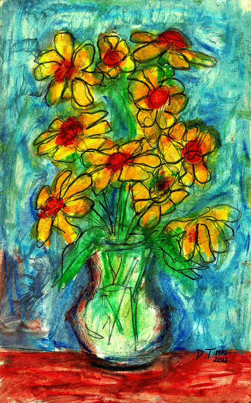 Flowers Art Print featuring the drawing Garden Flower Mono-print by Don Thibodeaux