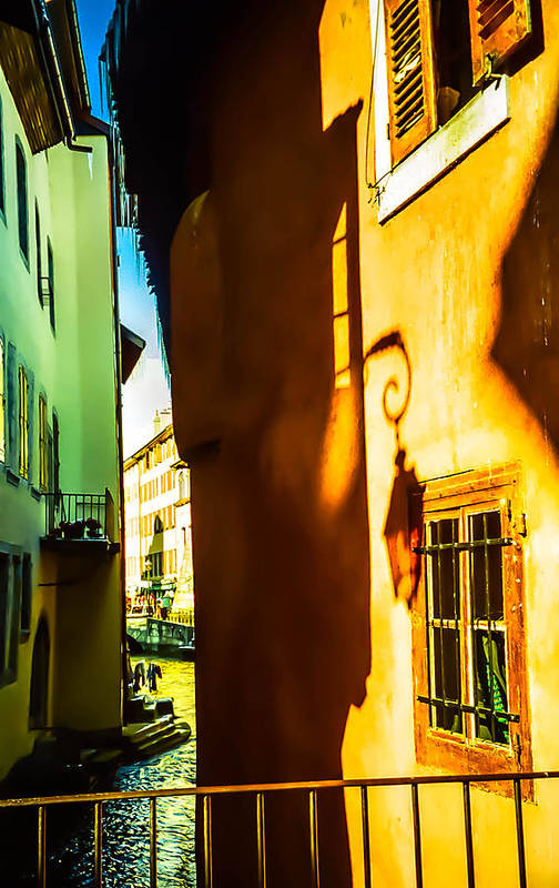 Annecy Art Print featuring the photograph Magic Lantern On The Walls Of Annecy by Jenny Rainbow