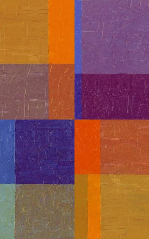 Periwinkle Art Print featuring the painting Purple And Orange Get Married by Michelle Calkins