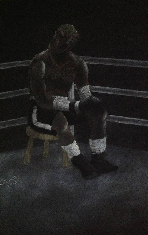 Boxer At Rest Between Rounds Art Print featuring the drawing The Boxer 2013 by Carl Frankel