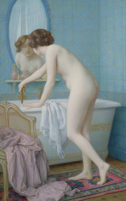 Mirror Art Print featuring the painting Young Woman Preparing Her Bath by Jules Scalbert