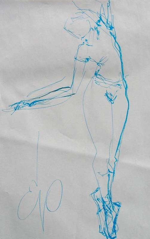 Nudes Art Print featuring the painting Ballerina 8047 by Elizabeth Parashis