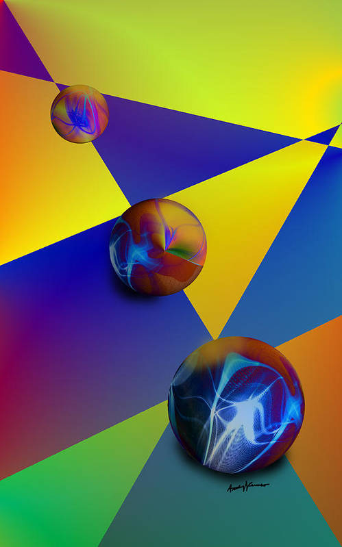 Abstract Art Print featuring the digital art Bocce by Anthony Caruso