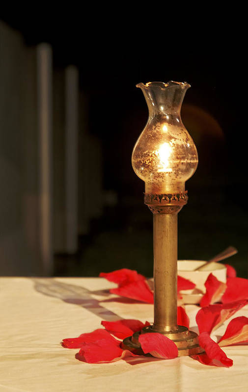 Interesting Art Print featuring the photograph Brass Candle Romance by Kantilal Patel