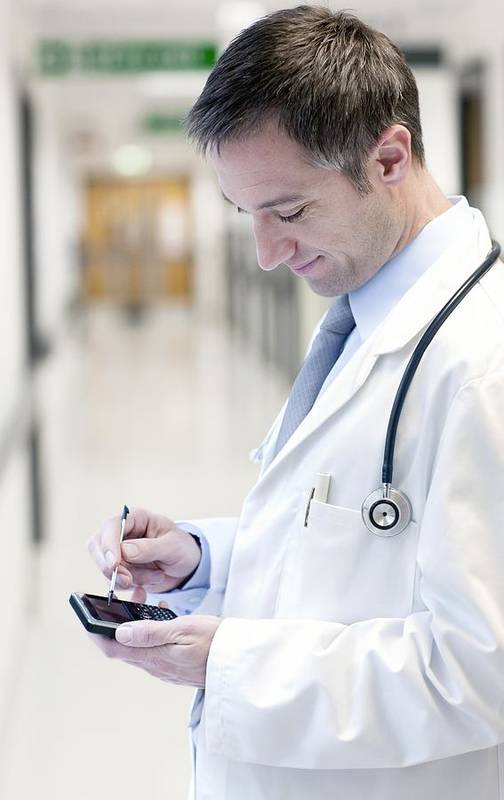 Telephone Art Print featuring the photograph Doctor Using A Smart Phone by