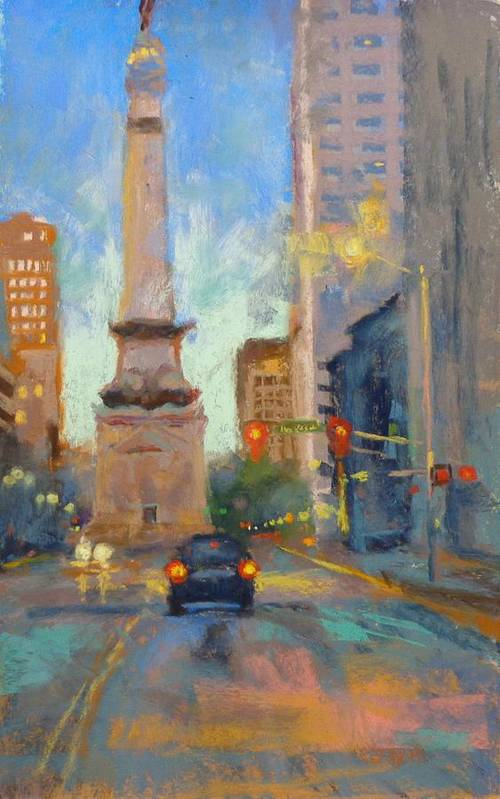 City Scape Art Print featuring the painting Indy Monument At Twilight by Donna Shortt