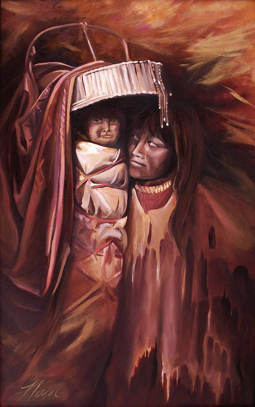Native American Art Print featuring the painting Apache Girl And Papoose by Nancy Griswold