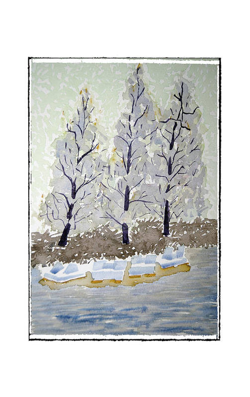 Landscape Art Print featuring the painting Blue Paddle Boats by Robert Boyette