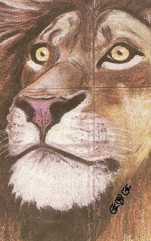 Lions Art Print featuring the painting Concrete Lion by George I Perez