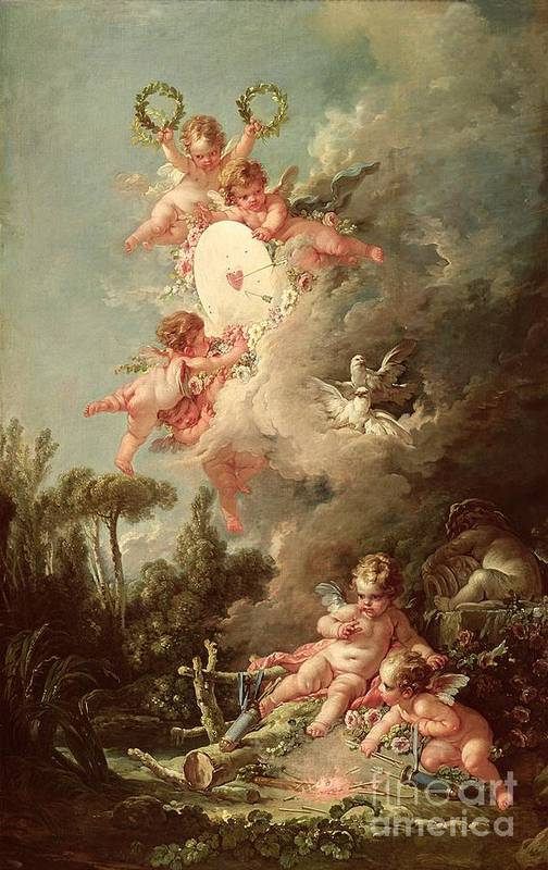 Cupid Art Print featuring the painting Cupids Target by Francois Boucher