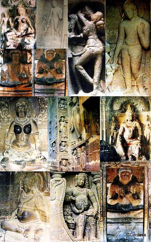 Collage Art Print featuring the photograph Ellora And Ajanta Caves by Carmen Cordova