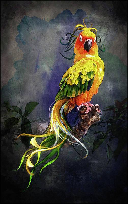 Bird Art Print featuring the digital art Fantasy Bird by Angel Glen
