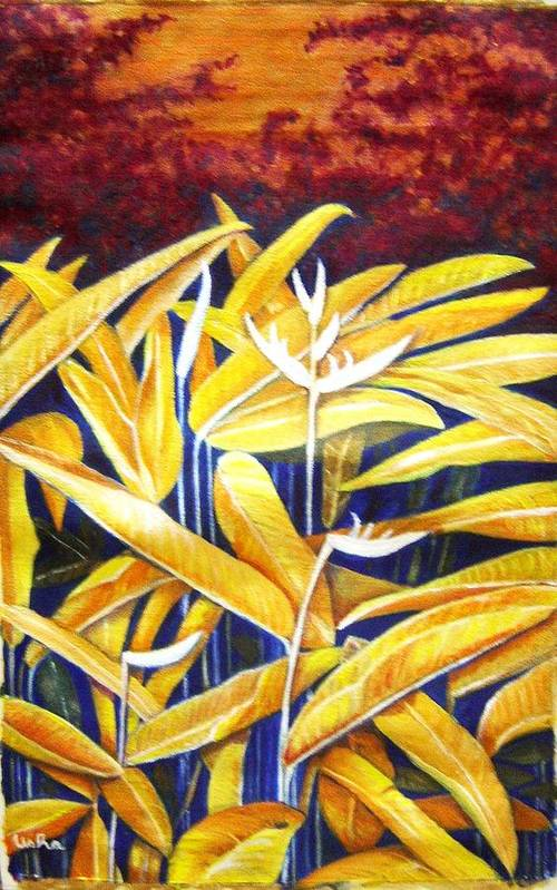 Heliconia Art Print featuring the painting Heliconia by Usha Shantharam