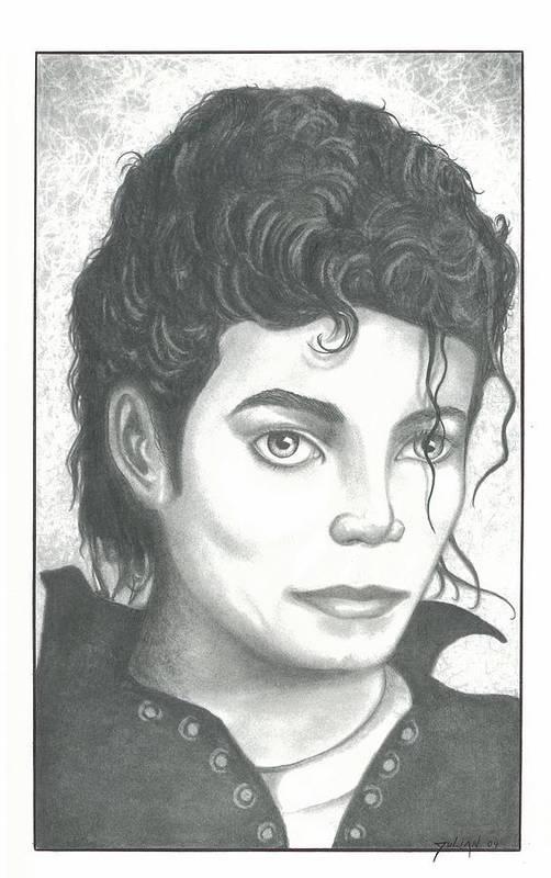 Popart Art Print featuring the drawing M. J. by Julian B