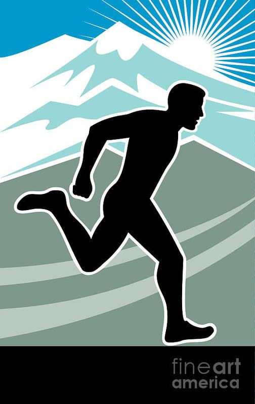 Marathon Print featuring the digital art Marathon Runner by Aloysius Patrimonio