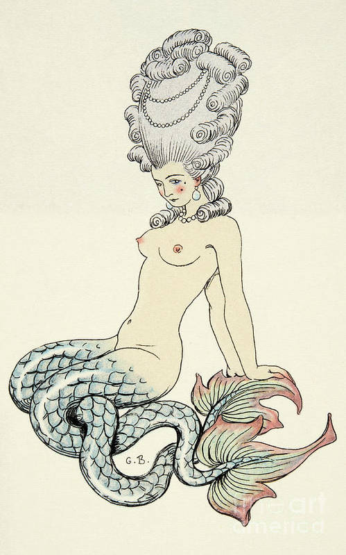 Mermaid Art Print featuring the painting Mermaid, From Les Liaisons Dangereuses by Georges Barbier