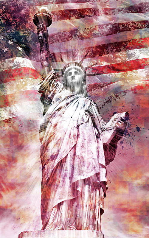 Manhattan Art Print featuring the photograph Modern-art Statue Of Liberty - Red by Melanie Viola
