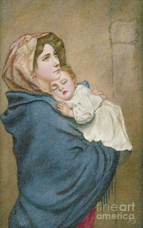 Sleeping Art Print featuring the painting Mother And Child by English School