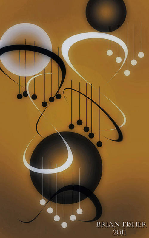 Abstract Art Print featuring the digital art Music by Brian Fisher