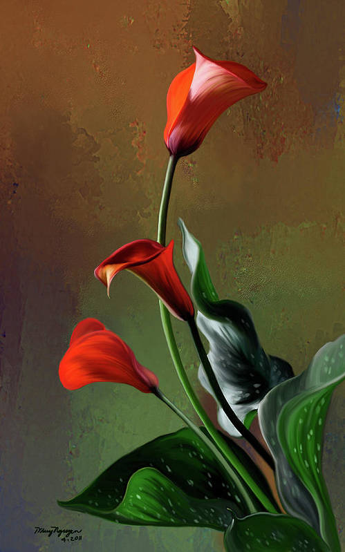 Calla Lily Art Print featuring the digital art Orange Calla Lily by Thanh Thuy Nguyen