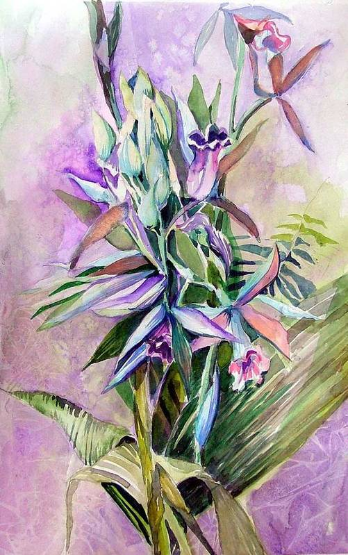 Orchids Art Print featuring the painting Orchids- Botanicals by Mindy Newman