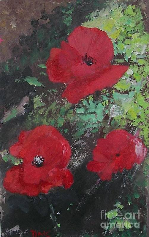 Red Art Print featuring the painting Poppies by Lizzy Forrester