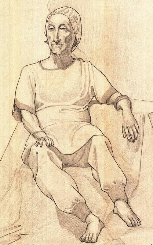 Makarand Joshi Art Print featuring the drawing Portrait Of A Parasi Lady by Makarand Joshi